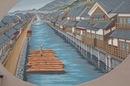 福山市松永の木材港と、その歴史感じる小さな公園の風景
