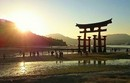 宮島の夕暮れ時間を楽しむ人々の風景