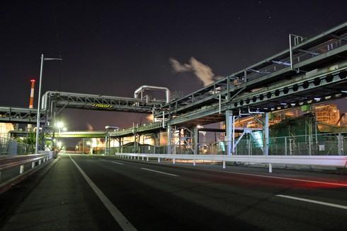 大竹コンビナートの夜景、工場萌え 直線部分