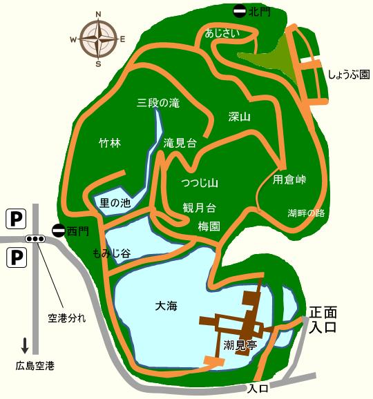 三景園の園内マップ