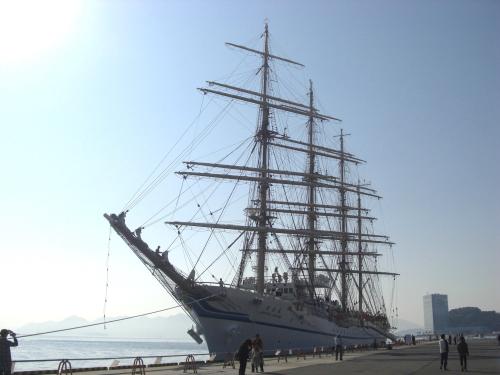 宇品港に日本丸練習船寄港