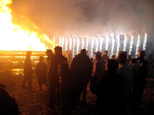 錦帯橋とんど祭り 2011 花火