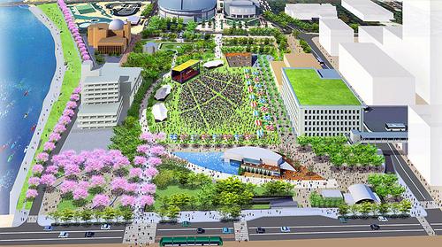 旧広島市民球場 跡地に、イベント広場や新商工会ビル