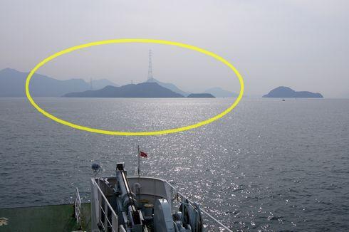 忠海港から見た、うさぎ島 大久野島
