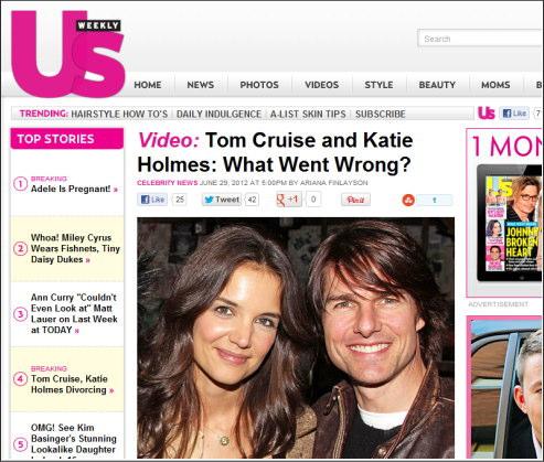 トムクルーズ 離婚、ケイティホームズからの申請で トム3度目の離婚へ