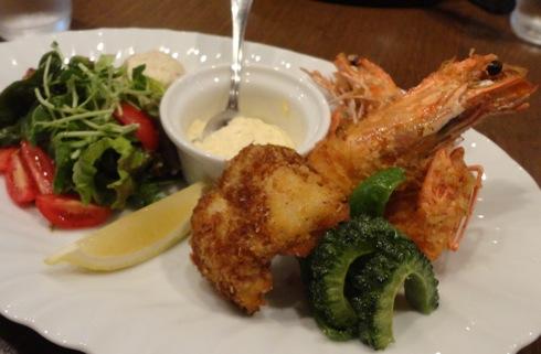 食屋 マルベリーの海老フライセット