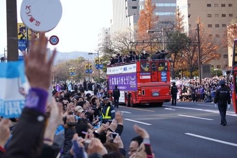 サンフレッチェ 優勝パレードの様子 写真