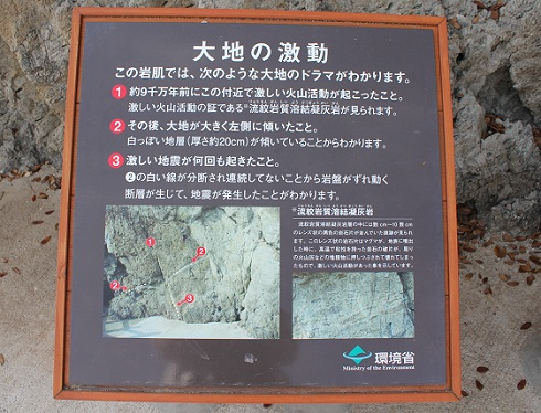 鞆の浦 仙酔島の五色岩 への遊歩道の案内板