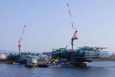 広島南道路、商工センターから観音への架橋工事の進み具合