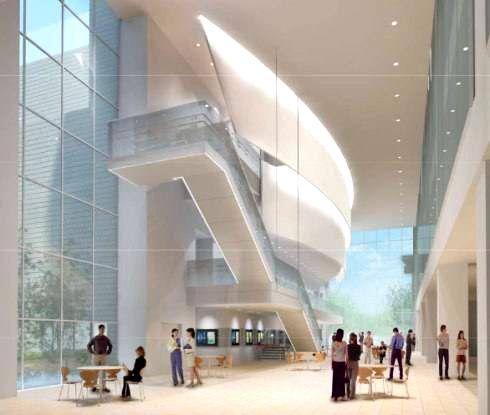 呉市新庁舎、呉市役所の完成イメージ シビックモールから見た市民ホール