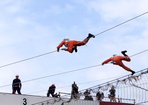 全国消防救助技術大会 広島 ロープ渡過
