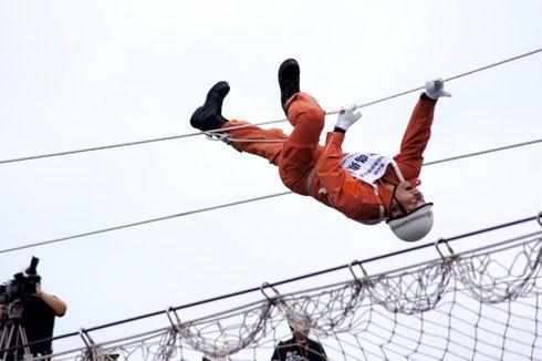 全国消防救助技術大会 広島 ロープ渡過2