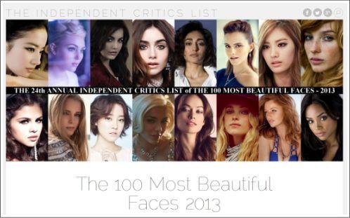 2013年 世界で最も美しい顔100人が発表!