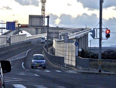 べた踏み坂こと、境港市から見た江島大橋