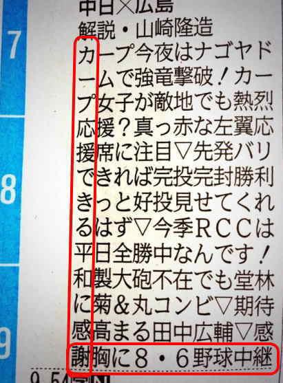 8月6日 中国新聞ラテ欄
