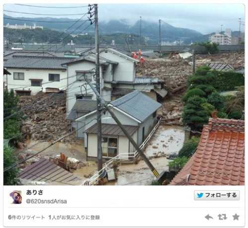 広島で土砂崩れによる被害発生、記録的大雨で