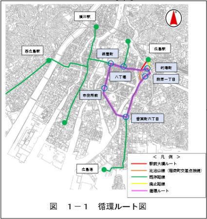駅前大橋ルート など路線図イメージ