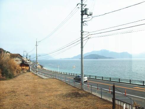 竹原市の海辺、R185を走る風景
