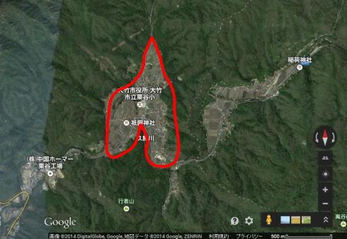 大竹市栗谷町の地図