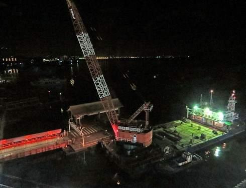宮島口桟橋、移設工事はじまる