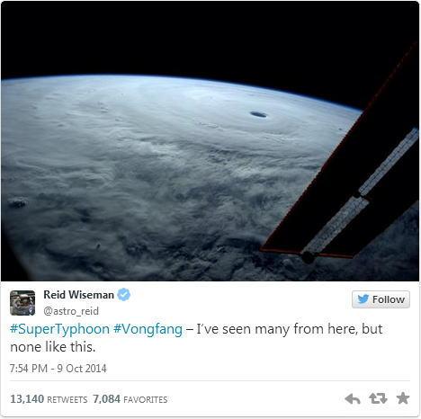 台風19号 2014年の猛烈な台風を宇宙から