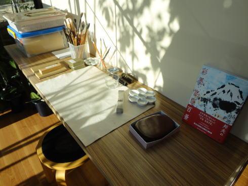 熊野町 筆の駅の中の書道セット
