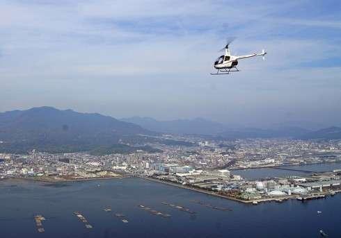 ヘリコプターで宮島上空を遊覧飛行