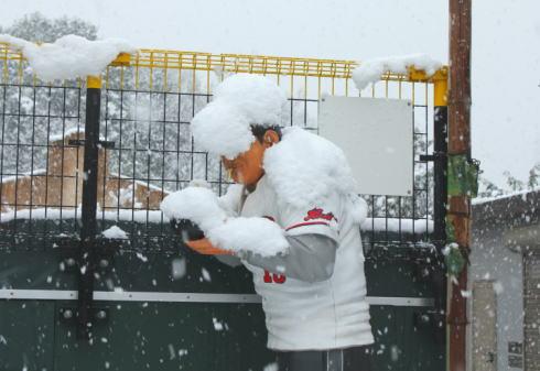 庄原に雪男現る!?2014冬本番、大雪に注意