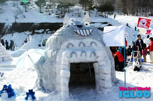 チーム対抗、世界イグルー選手権大会!雪のブロックで作るアートかまくら