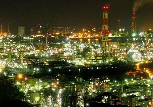 夕景と水島コンビナートの工場夜景クルージング、スタート!