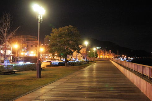 尾道駅前 緑地帯 ライトアップ2