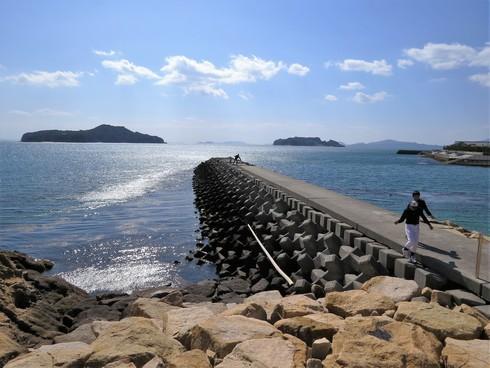 梶ヶ浜海水浴場、防波堤とテトラポッド