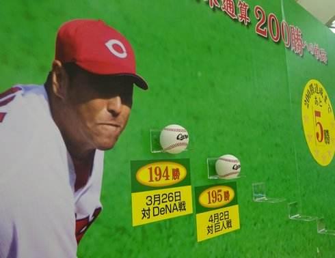 広島カープ 黒田投手、200勝まであと5つ