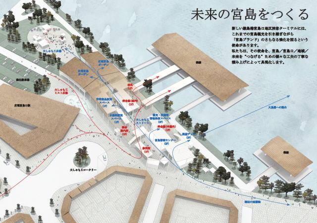 宮島口フェリー乗り場「厳島港」のデザイン決定、緑地など爽やかな空間へ