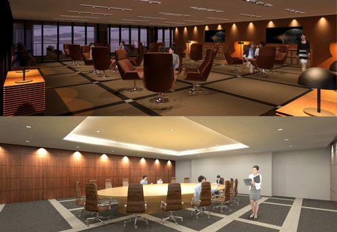 広島テレビ新社屋の役員会議室とラウンジ