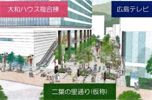 広島テレビ新社屋横に、二葉の里通り