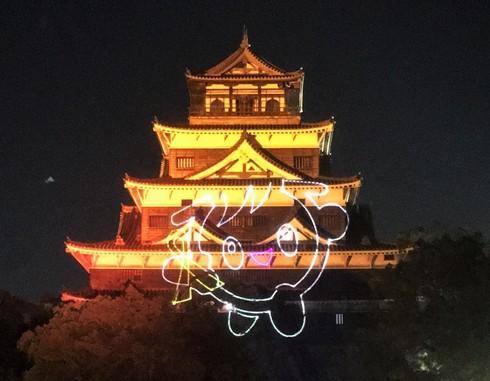 夜の広島城をオレンジライトアップ!初のレーザー演出も
