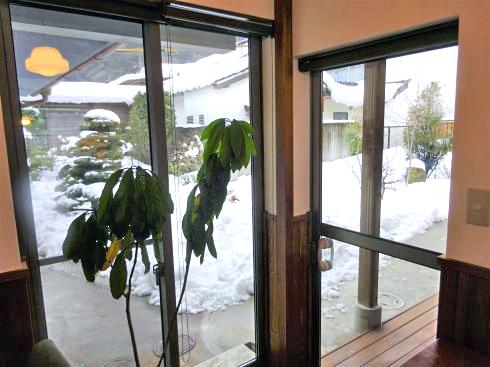 庄原・安原旅館に珈琲屋 洗心館(カフェ) から見る中庭