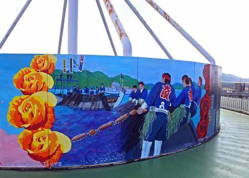 明王台展望台(配水池)てっぺんの壁画