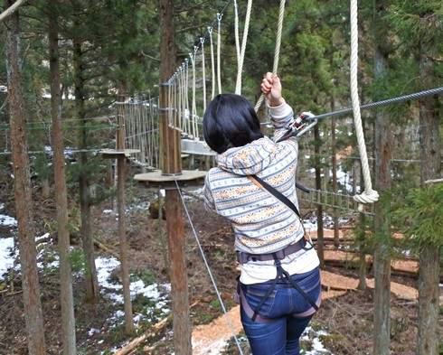 フォレストアドベンチャー広島 ロープの上を歩く