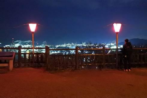 亀居公園の夜桜、一番高い場所へ