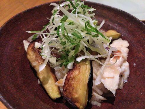 広島市中区 板蕎麦 香り家 蒸し鶏と揚げ茄子