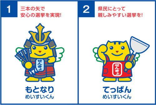 鯉・元就・お好み焼き・杓子、広島ご当地めいすいくん どれがお好み?