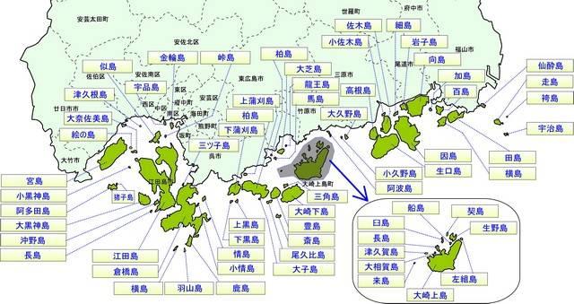 広島県の島 名前と地図
