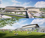福山市総合体育館 2019年度中に完成、福山競馬場跡に建替え