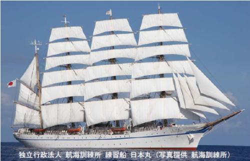 日本丸が帆を広げた画像