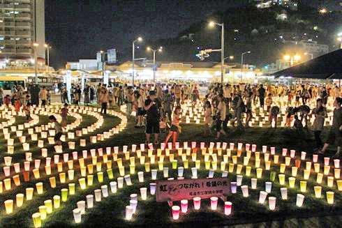 希望の灯りまつり、尾道駅前に500個の灯り