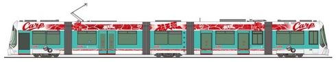 広島電鉄の カープ電車