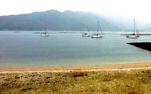 江田島 ビーチ長浜(長浜海岸) の沖の様子