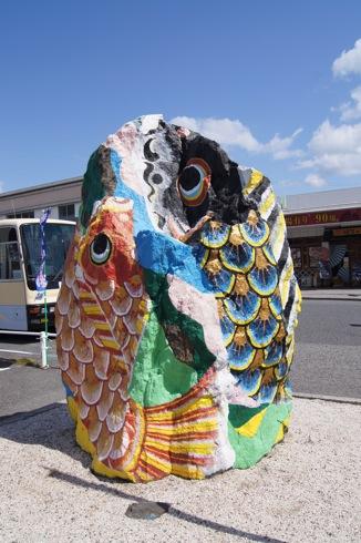大竹市の ストーンアート、色鮮やかな作品